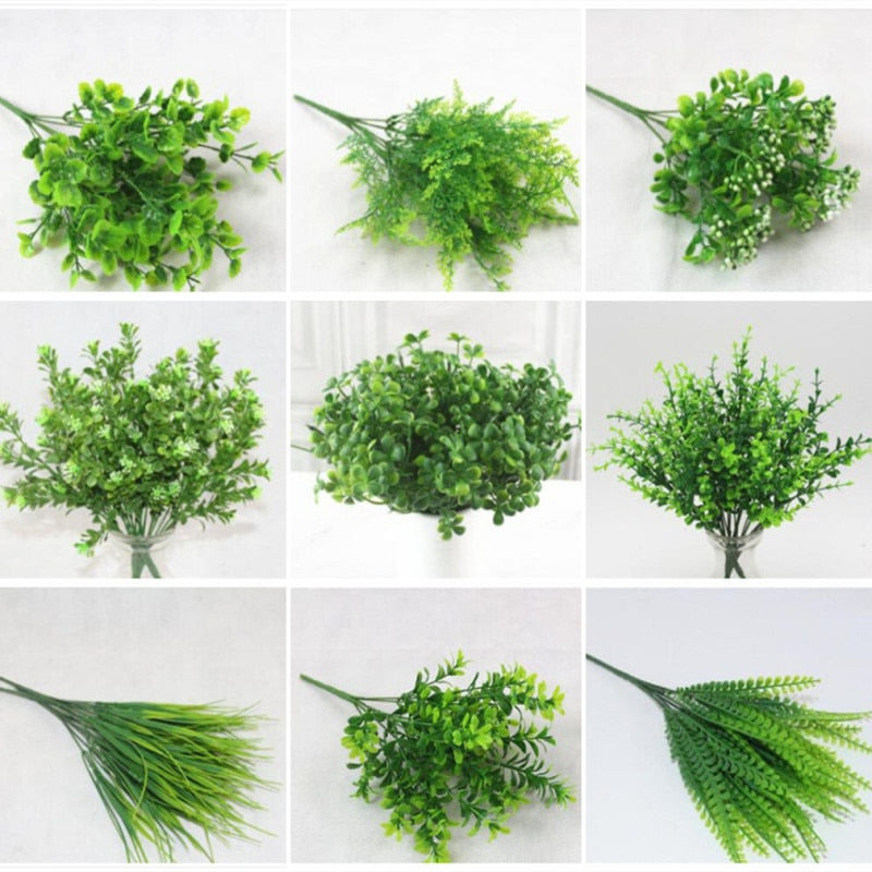 7 fork simulation water grass plastic artificial green grass flower home bonsai garden flower arrangement decoration Table Decor