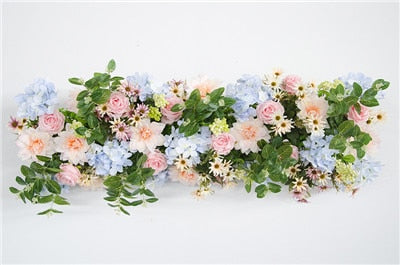 Customize 1m Artificial Flower Row Arch Decor Flower Row Wedding Backdrop Arch Road Lead Flower Arrangement Silk Flower Wall 1pc