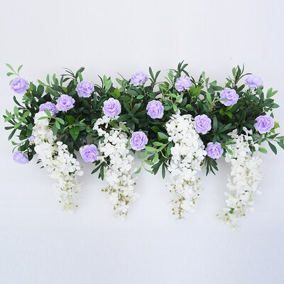 Romantic champagne artificial flower arrangement wedding decoration party props wedding stage arches fake flower row arrangement