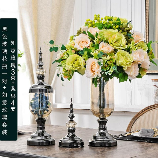 European Living Room Glass Transparent Vase Simulation Flower Arrangement, American Home Dry Flower Decoration Table And Tv Cabi