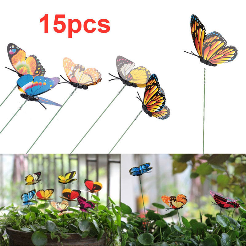 15Pcs/Lot Plastic Artificial Butterfly Garden Decorations Fake Butterfly Yard Flower Pot Decorative Stakes Random Color