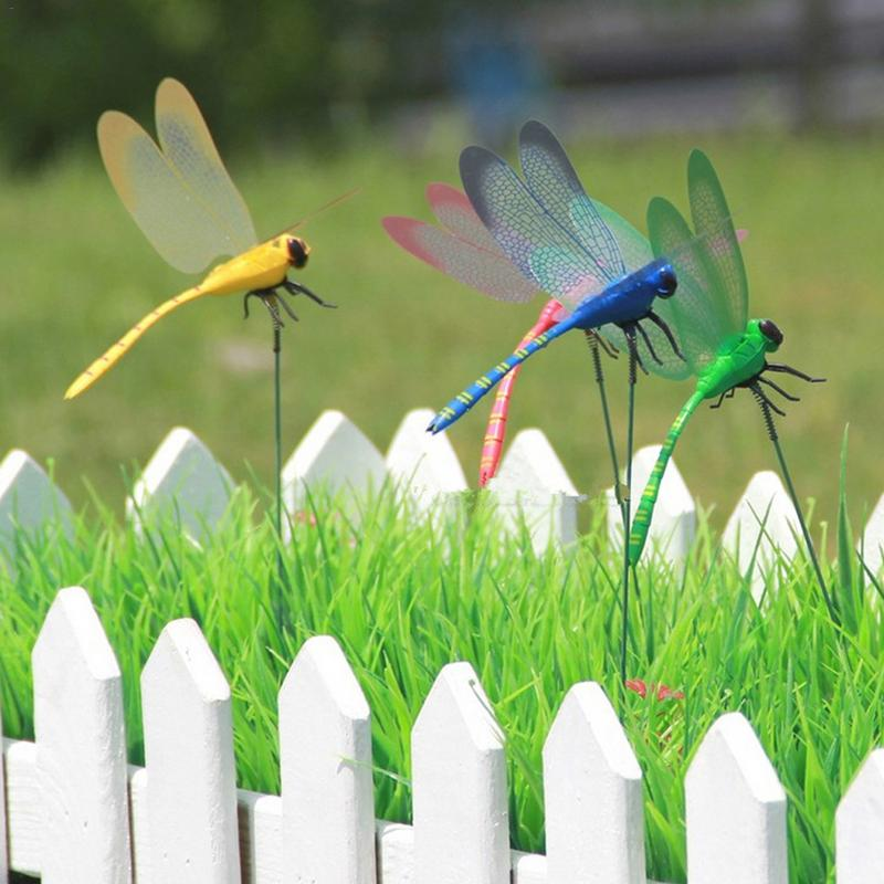 5pcs Colorful Simulation Truss Family HolidayGarden Ornament Dragonfly Garden Art Creative Lawn Window Beautiful Art Decorations