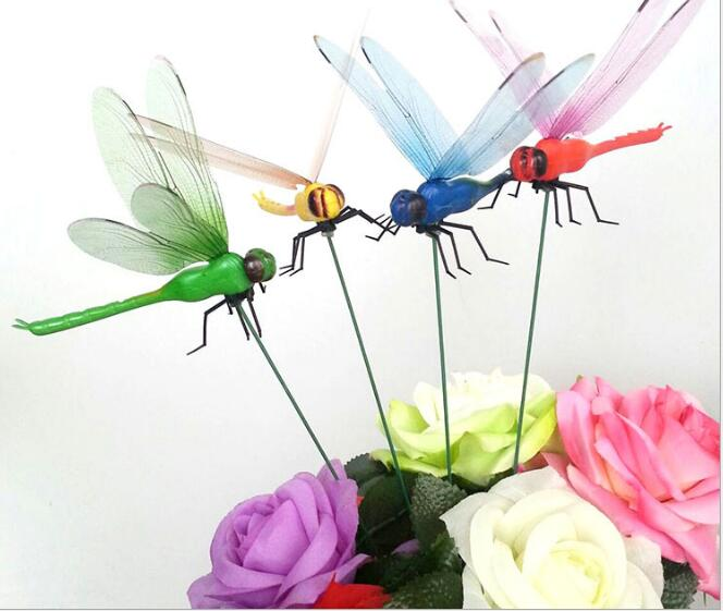 20pcs/lot 12cm,Simulation dragonfly colorful.butterfly dragonfly crafts lawn garden flower plunger decoration