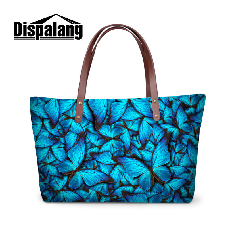 High Quality Womens Bag Blue Butterfly 3D Printing Handbags Large Beach Bag Ladies Shoulder Bag 11 Styles to Choose Bolsas Mujer