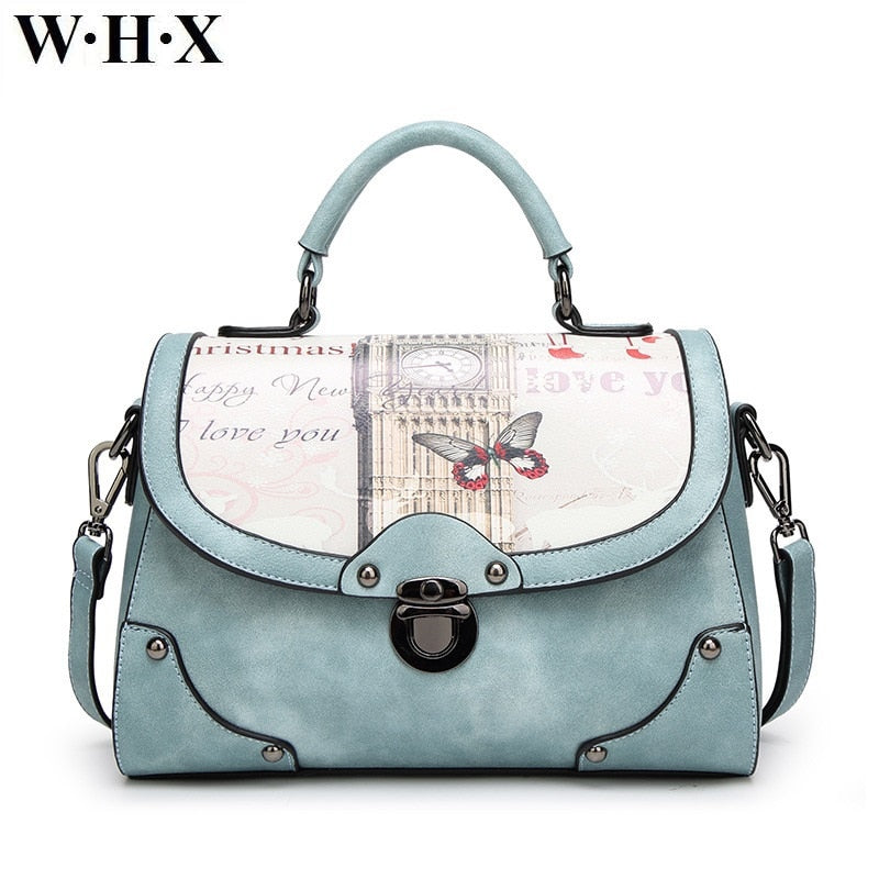 WHX Fashion Butterfly Graffiti Printing Handbag Women Bags Bag Leather Tote CrossBody Bag Shoulder Messenger blue Female Lady