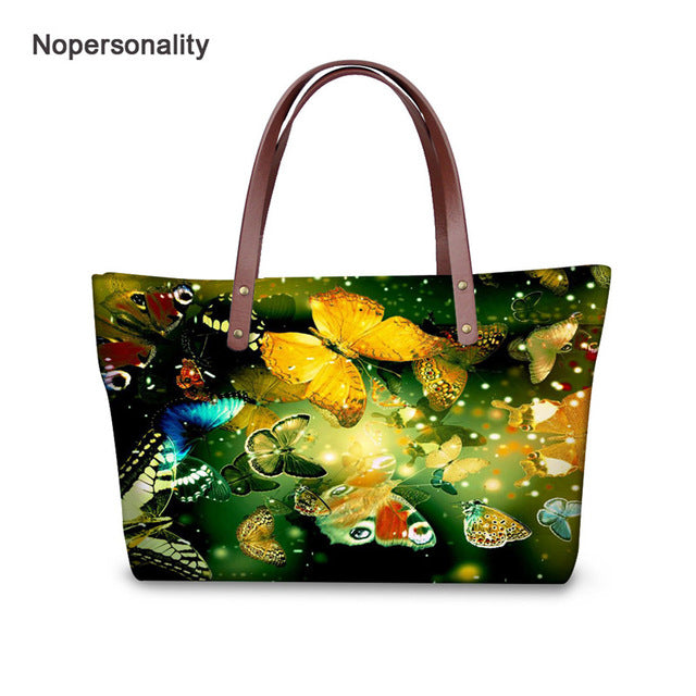 Nopersonality Casual Butterfly Print Neoprene Handbag for Women Large Capacity Female Shoulder Bags Soft Travel Tote Bags