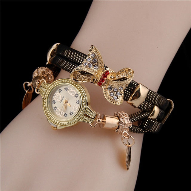 Ladies Watch Creative Butterfly Retro Rhinestone Bracelet Watches Lovely Wedding Quartz WristWatches Leather Women Watch Clock#B