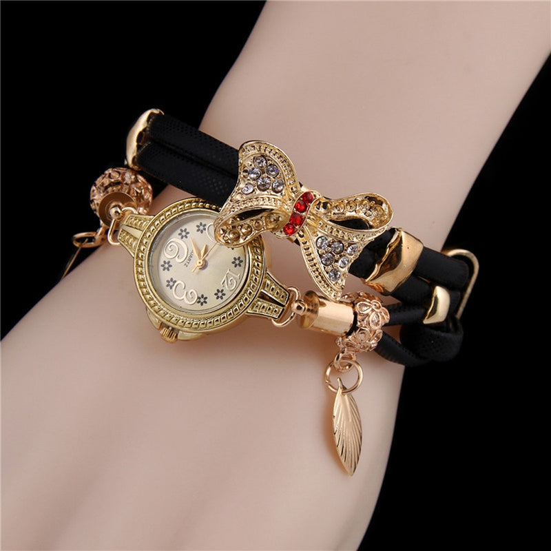 Fashion Popular Women Watch Butterfly Retro Rhinestone Bracelet Watches Women Lovely Wedding Ladies Clock Quartz Wrist Watches