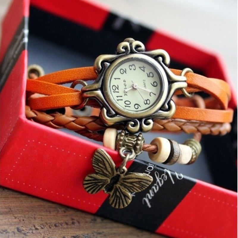 Weaving Retro Watch Women Fashion Leather Wrap Bracelet Watch Strap Table Ladies Watch Butterfly Pendant Girls Student Clock #G2