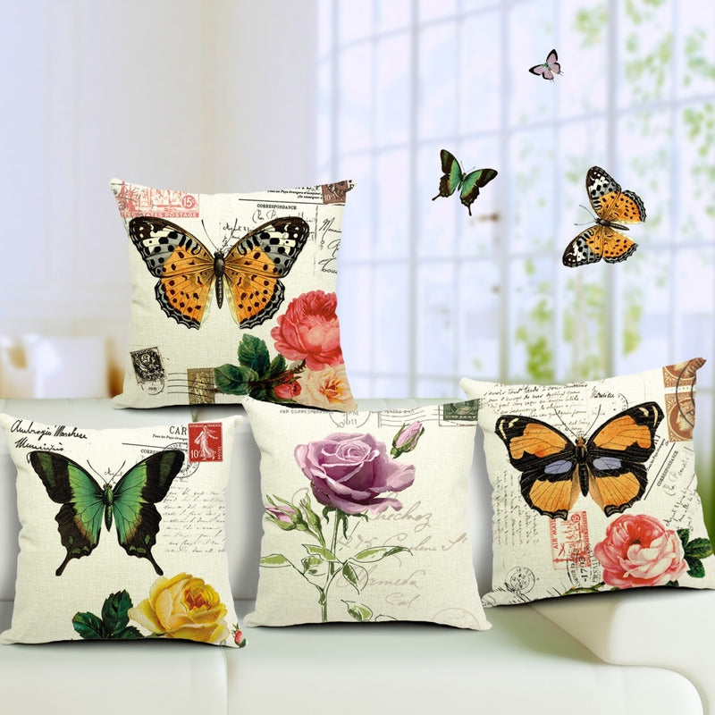 High Qualtity Vintage Butterfly Rose Cushion Cover Cotton Linen Pillowcase Flower Chair Seat Car Euro Throw Pillow Cojines