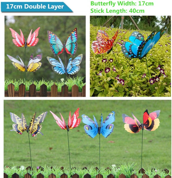 25Pcs/set Colorful 3D Double Layer Butterfly On Sticks Home Yard Lawn Flowerpot Plant Decoration Garden Ornament DIY Lawn Craft