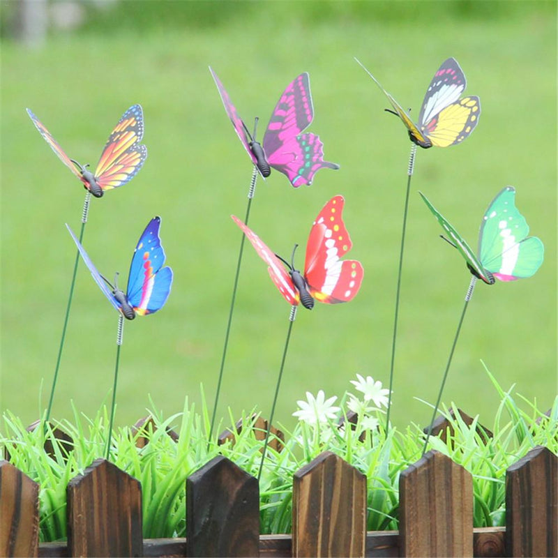 10Pcs Butterfly On Sticks Colorful Butterfly On Sticks Garden Vase Lawn Craft Art Decoration #BO