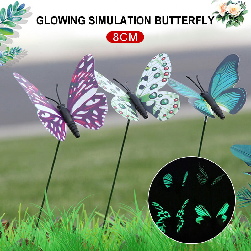 Butterfly Garden Decor on Sticks 3D Lawn Craft Artificial Lifelike Lawn Decoration Gardening 25pcs/Pack Beautiful