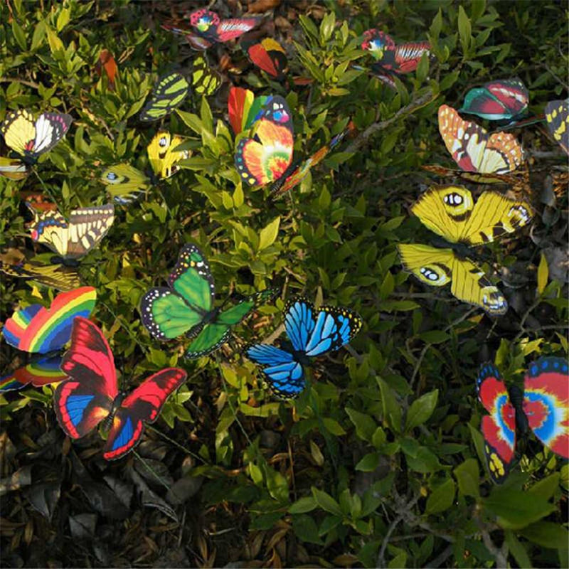 2018 High Quality 10Pcs Colorful Butterfly On Sticks Garden Vase Lawn Craft Art Decoration Dropship 9.1