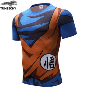 TUNSECHY New Men's Fashion Goku Dragon Ball 3D Print Short Sleeve Cosplay T-Shirt Compression Tshirts Wholesale and retail