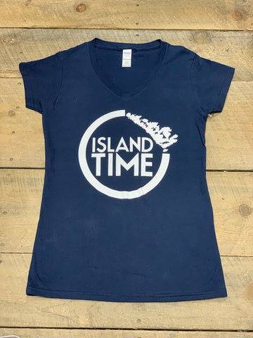 Ladies Navy Blue Island Time Tshirt