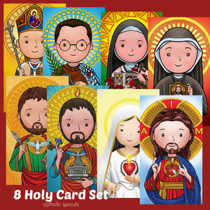 Holy Card Set: 8 Original Art Holy Cards