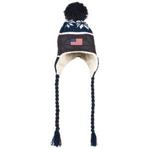 USA AMERICAN FLAG Sherpa Beanie with Ear Flaps and custom Braids