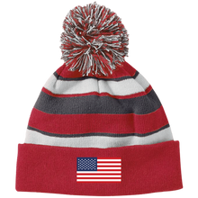 USA FLAG Striped Beanie with Pommie