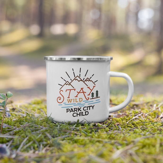 STAY WILD PARK CITY CHILD 🔥 stylish enamel camping mug