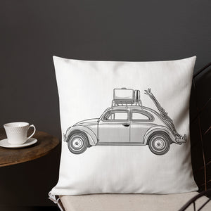 VINTAGE PEACE LOVE AND VOLKSWAGEN BEETLE SKI ROADTRIPPER Premium Pillow