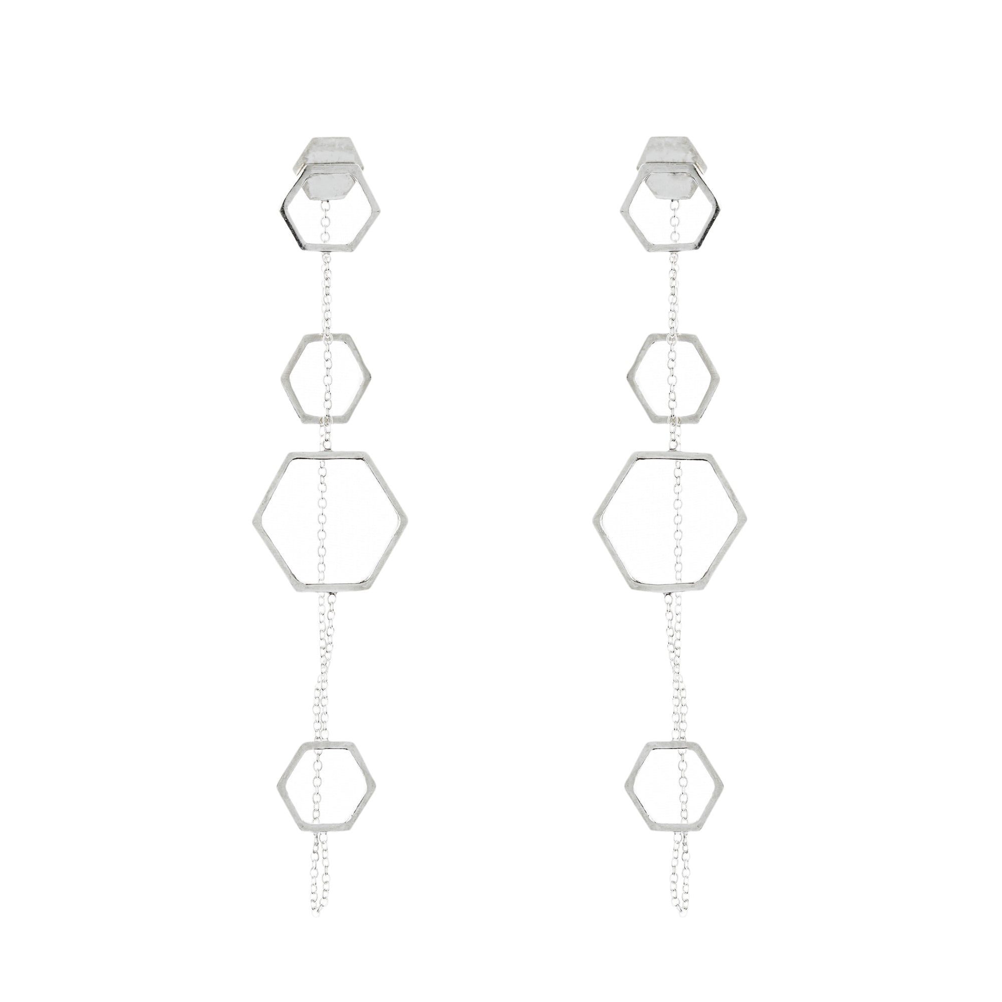 Aurore Havenne belgian designer 1000&1 long earrings silver minimalist jewellery bijou fin