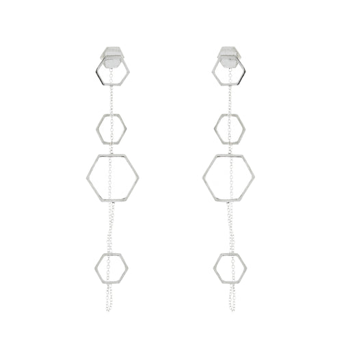 silver geometric hexagonal earrings aurore havenne