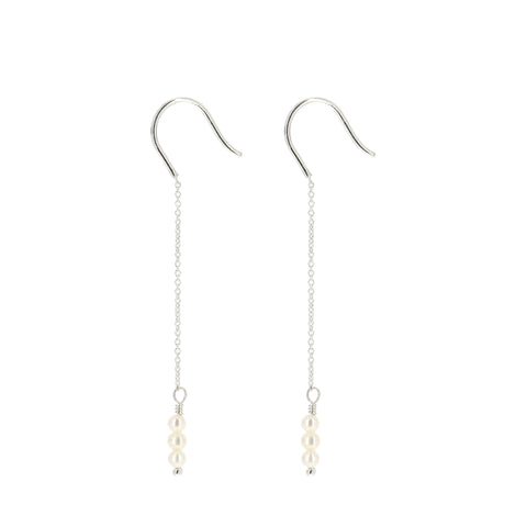 Silver Long Raindrops Earrings