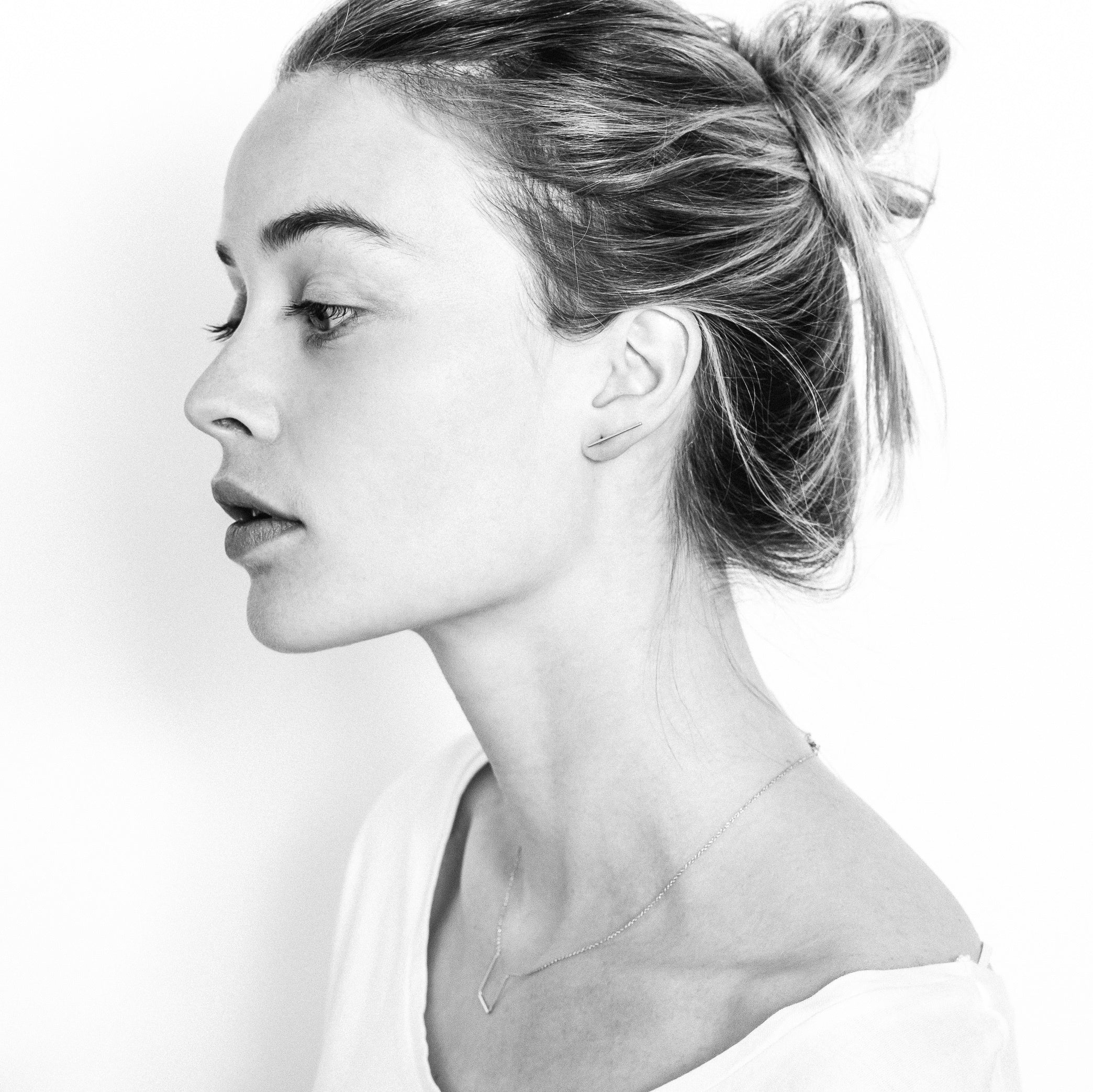 Lines Earrings Aurore Havenne Gold plated silver bijou simple jewellery belgian designer