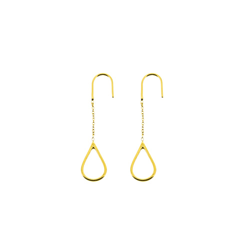 Aurore Havenne Gold Plated Silver Long Raindrops Earrings minimalist jewellery bijou simple designer