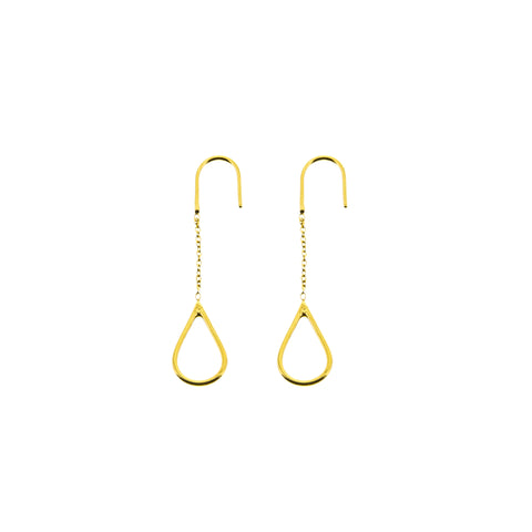 Tubular Gold And Diamond Long Earrings