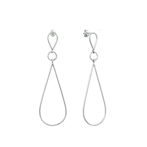 Silver Double Unity Triangle Earrings
