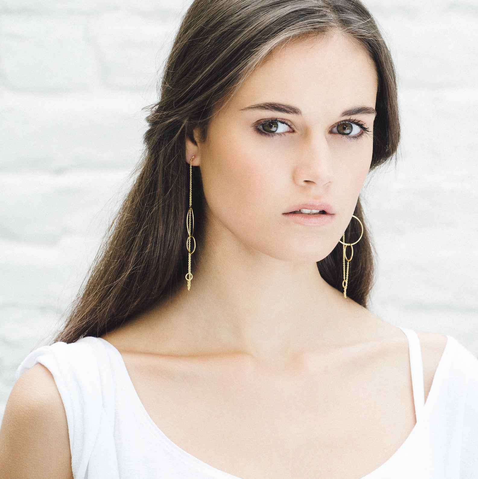 Aurore Havenne Long Trinity Gold Plated Silver earrings minimalist jewellery bijoux simple elegant designer belge