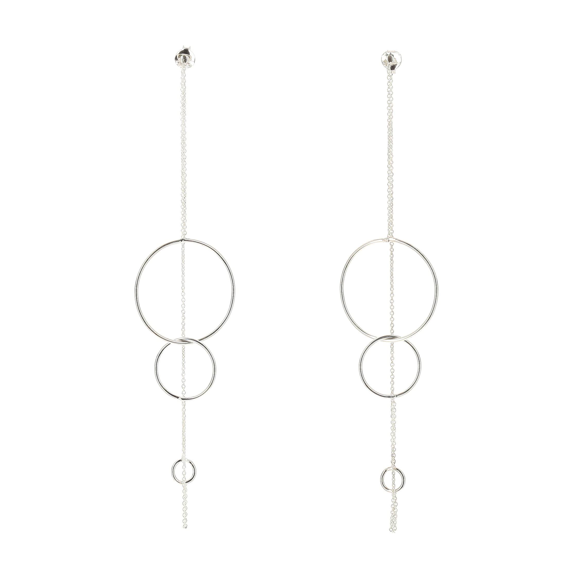 Aurore Havenne Long Trinity Silver earrings minimalist jewellery bijoux simple elegant designer belge