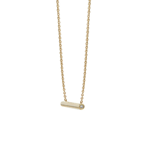 Aurore Havenne Gold and Diamond Tubular necklace bijou fin simple minimalist jewellery