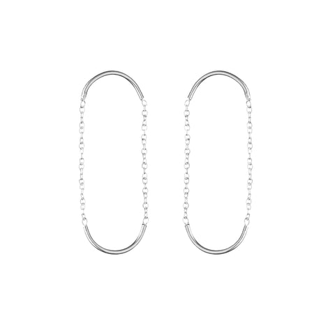 Silver Double Unity Square Earrings