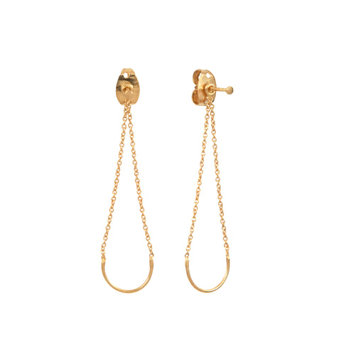 Gold Plated Silver Unity Square Earrings