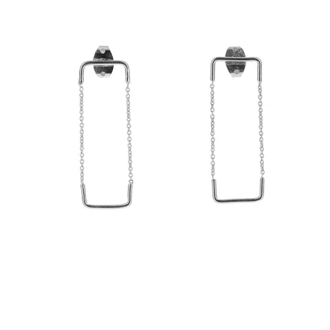 Silver Unity Square Earrings