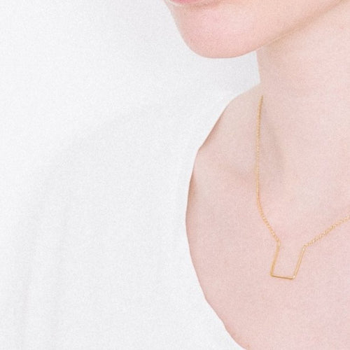Aurore Havenne Gold Plated Silver Unity Square Necklace design minimalist bijou simple elegant gift