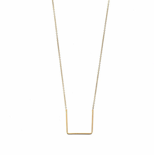Gold Plated Silver Unity Square Necklace