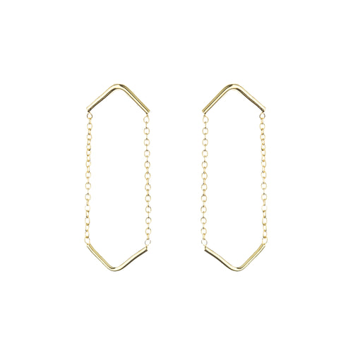 Gold Plated Silver Double Unity Triangle Earrings