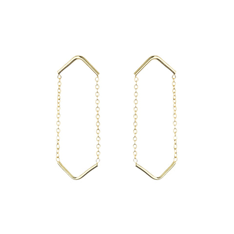 Gold Plated Silver Large Circle Earrings