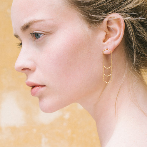 Aurore Havenne Gold Plated Silver Triple Unity Triangle Earrings minimalist bijou simple design must have gift