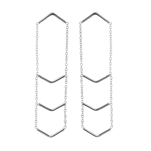 Aurore Havenne Silver Triple Triangle Unity Earrings minimalist bijou simple jewellery designer