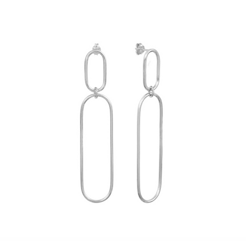 Long Silver Trinity Earrings
