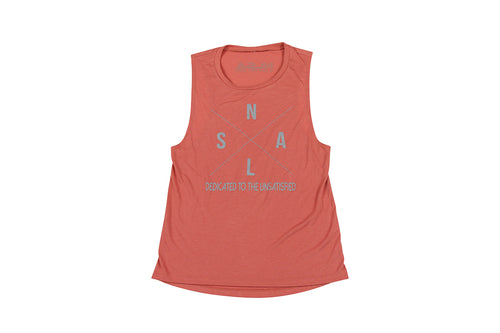 WOMEN'S X MUSCLE TANK MAUVE AND GRAY