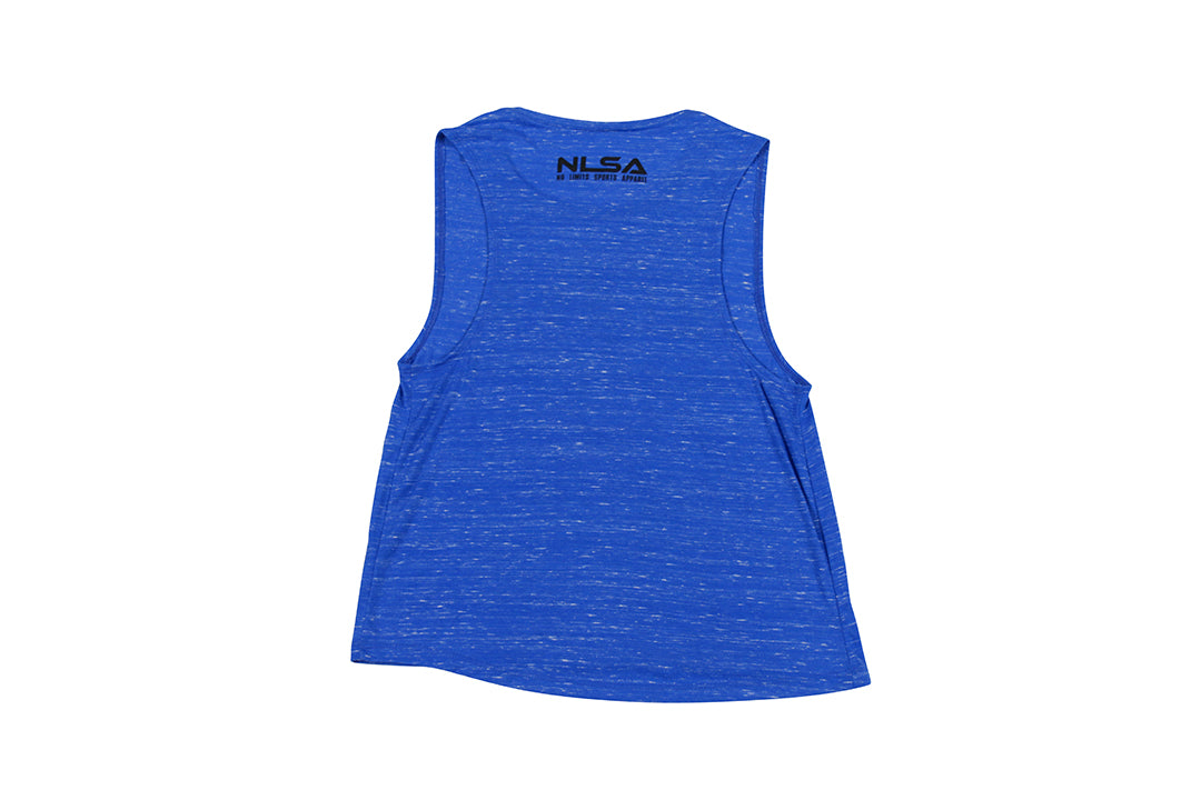 WOMEN'S MARBLE ROYAL BLUE AND BLACK VOLT MUSCLE TANK