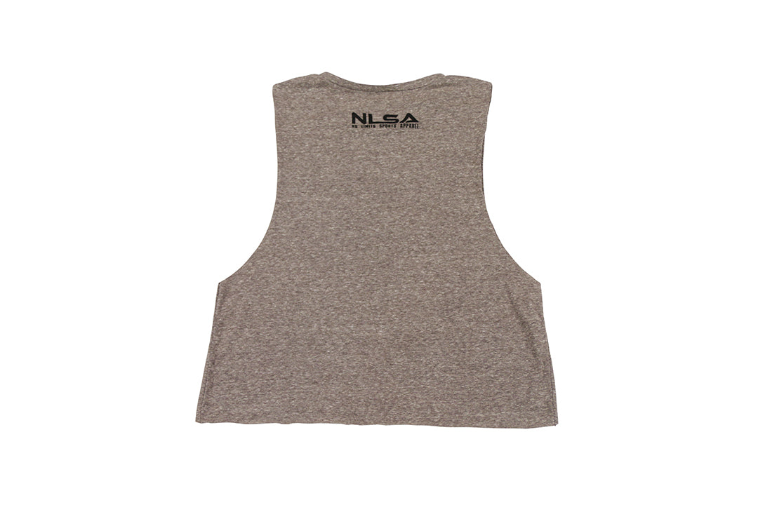 WOMEN'S GRAY FORGING ELITE THICKNESS MUSCLE CROP TANK
