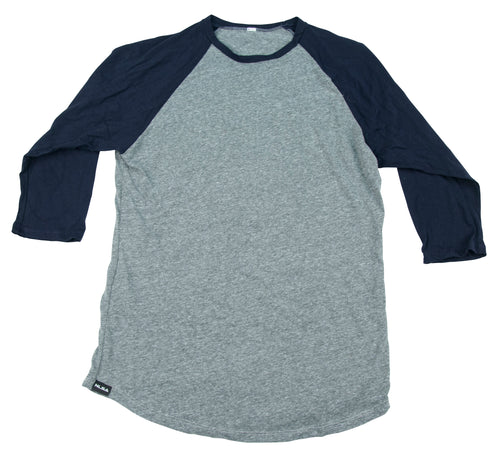 MEN'S 3/4 SLEEVE BASEBALL TEE HEATHER GREY AND NAVY
