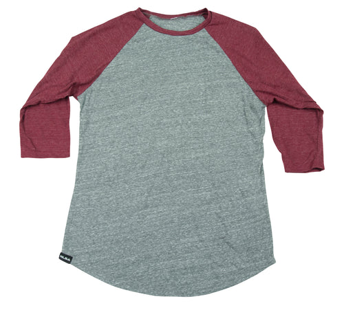 MEN'S 3/4 SLEEVE BASEBALL TEE HEATHER GREY AND RUST